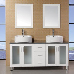 "Design Elements - Malibu 60"" Single Sink Modern Bathroom Vanity Set in Espresso Finish - The 60"" Malibu showcases light, clean lines and geometric shapes though a well-balanced convergence of wood, glass, and porcelain. The result is a practical, superbly functional design with a rich range of forms, hues, and textures. The lack of architectural embellishments make the Malibu a great value and a perfect fit for the ultra-modern bathroom. Quality design points were not sacrificed, such as solid oak construction (no MDF in sight), soft-closing cabinet doors, a water-resistant finish, and a tempered glass countertop. Thanks to the round vessel sinks, there's plenty of counter space, and storage space is further enhanced with three large drawers and two double-door cabinets.; Solid Oak Wood construction; Black Tempered Glass Countertop; Round Vessel sink; Faucet not included.; Polished chrome pop up drain; Three Drawers and Soft Closing Double Door; Soft closing cabinet door ensuresyou never hear door slam again.; Matching framed mirror; Dimensions: 60""W x 22""D x 34""H"