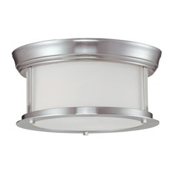 Two Light Brushed Nickel Matte Opal Glass Drum Shade Flush Mount - This two light lamp, with a brushed nickel finish and matte opal glass, rests flush to the ceiling and is a perfect fit in today's modern home.