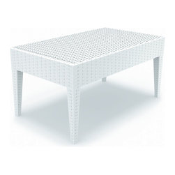 Compamia - Miami Rectangle Resin Coffee Table White - Miami woven-wicker-looking rectangle coffee table white. Wickerlook resin is a natural looking un-woven one piece furniture technology. No metal parts to rust, no moving parts that can break. Made for commercial durability. UV treated. Made for outdoors. White.