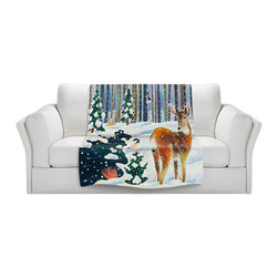 DiaNoche Designs - Fleece Throw Blanket by Harriet Peck Taylor - Doe & Chick - Original Artwork printed to an ultra soft fleece Blanket for a unique look and feel of your living room couch or bedroom space.  DiaNoche Designs uses images from artists all over the world to create Illuminated art, Canvas Art, Sheets, Pillows, Duvets, Blankets and many other items that you can print to.  Every purchase supports an artist!