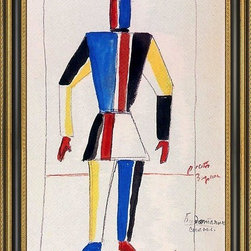 """Art MegaMart - Kazimir Malevich Athlete Future - 16"""" x 24"""" Kazimir Malevich The Athlete of the Future framed premium canvas print reproduced to meet museum quality standards. Our Museum quality canvas prints are produced using high-precision print technology for a more accurate reproduction printed on high quality canvas with fade-resistant, archival inks. Our progressive business model allows us to offer works of art to you at the best wholesale pricing, significantly less than art gallery prices, affordable to all. This artwork is hand stretched onto wooden stretcher bars, then mounted into our 3 3/4"""" wide gold finish frame with black panel by one of our expert framers. Our framed canvas print comes with hardware, ready to hang on your wall.  We present a comprehensive collection of exceptional canvas art reproductions by Kazimir Malevich."""