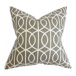 """The Pillow Collection - Lior Geometric Pillow Brown White 18"""" x 18"""" - Throw a few pieces of this contemporary accent pillow in your living room or bedroom. This throw pillow offers an urban chic look to your interiors with its geometric pattern set against brown background. Perfect for casual and formal settings, this 18"""" pillow lends texture and dimension. Crafted in 100% high-quality cotton material. Hidden zipper closure for easy cover removal.  Knife edge finish on all four sides.  Reversible pillow with the same fabric on the back side.  Spot cleaning suggested."""
