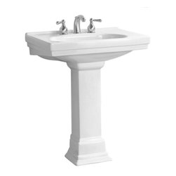 "Foremost - Foremost F-1950-8-WH Structure Vitreous China Pedestal Sink | plumbingdepot.com - Foremost F-1950-8-WH Structure Vitreous China Pedestal Sink with 8"" Centers in WhiteThe Structure Pedestal Sink puts a modern touch on traditional design. Its Art Deco appearance is updated with smoother lines and modern appeal-the perfect balance of a time-honored look and modern flair. The Structure Sink is available in different color finishes and options of single hole, 4"" or 8"" centers.  The Pedestal Leg is sold separately.Foremost F-1950-8-WH Structure Vitreous China Pedestal Sink with 8"" Centers in White, Features:bull; Dimensions: 28"" w x 20"" d x 9"" h"