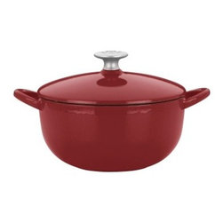 Mario Batali by Dansk Classic 3 qt. Soup Pot - Chianti - The rounded belly of the Mario Batali by Dansk Classic 3 qt. Soup Pot in Chianti and its hard-working cast iron interior make it perfect for soups, stews, and chili. But it's the gorgeous spicy chianti red enamel that will have people oohing and aahing. This cast iron pot looks good in your kitchen and is also great to cook with. Use it on gas, electric, induction, or ceramic-top stoves and then simply toss in the dishwasher. Easy! All this and it comes with a lifetime warranty. Soups on!
