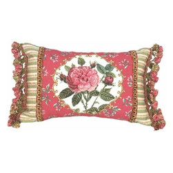 123Creations - Rose Petit-Point 12 x 18 Pillow - 100% Wool Hand Embroidered  123Creations - C230-12X18