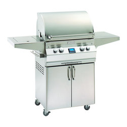 "Fire Magic - Fire Magic Aurora A430s-2E1N-62 Cart Mount Gas Grill - Cast stainless steel E'' burners guaranteed for life Largest cooking space compared to other same size grills Most BTU's per square inch. Heats fast and stays hot! 16-gauge stainless steel flavor grids are engineered for durability and even heat distribution Built-in Interior Lights Integral and removable oven warming rack for light cooking or warming food Electronic Spark ignition simply push in the control knob, turn up the gas and light the grill (no batteries required) Meat probe with digital thermometer Optional recessed stainless steel rotisserie back burner and heavy duty rotisserie kit Built-in storage rack for rotisserie spit rod Extensive line of complementary accessories Stainless steel warming rack for additional indirect cooking space 432 sq. inches cooking surface (24""x18"") 15 year warranty on backburners Cast stainless steel burners, stainless steel housing and stainless steel cooking grids are warranted for as long as you own your grill"