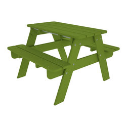 Kid's Picnic Table Lime All Weather Outdoor Recycled Plastic Furniture - Th perfect child sized table for crafts, tea parties, and all their favorite outdoor activities.
