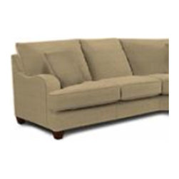 "Klaussner Furniture - Canyon Right Arm Facing Reclining Sofa - The Canyon collection is a must for any family home. Features: -Canyon collection. -Upholstery: Fabric. -Wide rounded arms. -3 Matching arm pillows. -Attached pillow backs. -Casual lifestyle. -Deep seating deck. -Tapered wood legs. -Made in the USA. Dimensions: -Seat Height: 22"". -Seat Depth: 24"". -Distance between arms: 70"". -Overall Dimensions: 40"" H x 98"" W x 40"" D, 162 lbs."