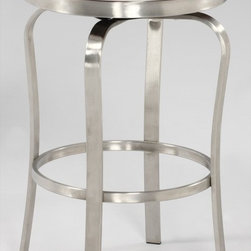 Chintaly Imports - Modern Backless Counter Stool in Brushed Stainless Steel - This is a modern style bar stool with retro looks. It has a brushed stainless steel frame. It comes in Red or White PU cushioned button style seat. You can choose Bar stool height or Counter stool height.