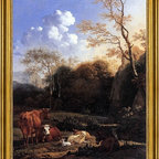 """Karel Dujardin-18""""x24"""" Framed Canvas - 18"""" x 24"""" Karel Dujardin Cows and Sheep at a Stream framed premium canvas print reproduced to meet museum quality standards. Our museum quality canvas prints are produced using high-precision print technology for a more accurate reproduction printed on high quality canvas with fade-resistant, archival inks. Our progressive business model allows us to offer works of art to you at the best wholesale pricing, significantly less than art gallery prices, affordable to all. This artwork is hand stretched onto wooden stretcher bars, then mounted into our 3"""" wide gold finish frame with black panel by one of our expert framers. Our framed canvas print comes with hardware, ready to hang on your wall.  We present a comprehensive collection of exceptional canvas art reproductions by Karel Dujardin."""