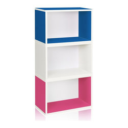 Way Basics - Stackable Hillcrest Modular Storage, Blue Pink White - The Hillcrest Modular Organizer is the perfect combination of three of our Rectangle cubes. Its simplistic three shelf design ensures you have maximum organizational space, while maintaining a classic look that will complement and adorn any room in your home or office.
