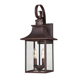 Quoizel Lighting - Quoizel CCR8408CU Chancellor 2 Light Outdoor Wall Light, Copper Bronze - This outdoor group gives you the historic look of lighting from the 19th Century. It is solid copper that will weather naturally for a lived-in look. Adorning your home with this charming style will make it the best on the block.