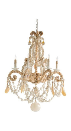 Arteriors Strasbourg Shell Chandelier - Bring a bit of nature and the beauty of the ocean into your home with this beautiful shell chandelier, covered in pearlescent capiz shells and natural draped shells.