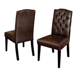 Clark Tufted Back Leather Dining Chairs, Set of 2