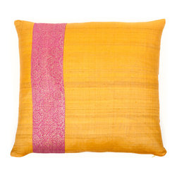 "Trendsage - Trendsage Desi Silk Pillow, Orange - ""Trendsage is a collaboration between Goga Bouquet and Sebastian Lopez. Their product line consists of contemporary, modern and high end home décor. They were inspired by the organic and neutral colors of the earth. The Raw Silk Desi Pillow comes with a 5% Down and 95% Feather Insert. It is hand dyed and therefore color variations differ between pillows."""