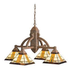 Kichler 4-Light Chandelier - Patina Bronze - Four Light Chandelier