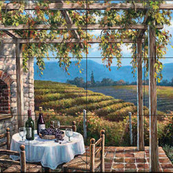 The Tile Mural Store (USA) - Tile Mural - Sk - Vineyard Terrace - Kitchen Backsplash Ideas - This beautiful artwork by Sung Kim has been digitally reproduced for tiles and depicts the perfect tuscan setting for lunch.  Our kitchen tile murals are perfect to use as part of your kitchen backsplash tile project. Add interest to your kitchen backsplash wall with a decorative tile mural. If you are remodeling your kitchen or building a new home, install a tile mural above your stove top or install a tile mural above your sink. Adding a decorative tile mural to your backsplash is a wonderful idea and will liven up the space behind your cooktop or sink.