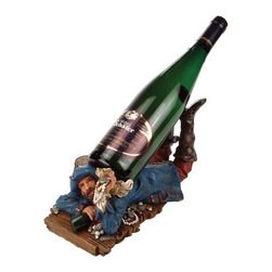 """Blue Coat Pirate Wine Bottle Holder - The blue coat pirate wine bottle holder measures 11""""H. It holds one bottle of wine. It will add a definite nautical touch to wherever it is placed and is a must have for those who appreciate high quality nautical decor. It makes a great gift, impressive decoration and will be admired by all those who love the sea."""