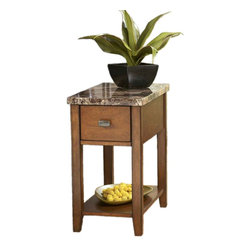 """Signature Design by Ashley - 23"""" Height x 13"""" Width x 22"""" Depth Theo - Whether its snuggled up next to your favorite recliner or resting next to the comfort of your sofa, this chairside end-table offers ample storage space and an attractive marble-style surface."""