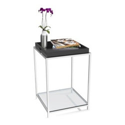 Convenience Concepts Palm Beach Square Black Metal and Glass End Table with Remo - Serve in style with theConvenience Concepts Palm Beach Square Black Metal and Glass End Table with Removable Tray and its included tray. With a stainless steel frame, this end table has a pair of tempered-glass shelves for ample storage. The tray can be removed and flipped for versatile use.About Convenience ConceptsIf you're looking for forward-thinking designs at affordable prices, you can count on Convenience Concepts. Sensible contemporary furniture that's easy and ready to assemble, all of the products created by Convenience Concepts are quality-driven and will add flair to your living spaces.