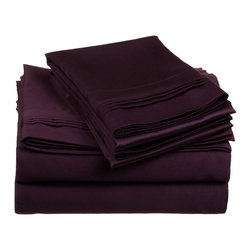 "650 Thread Count California King Sheet Set Egyptian Cotton Solid - Plum - Nothing refreshes a mind and body more than a good night sleep. Experience true 100% Egyptian Cotton luxury when you sleep on these 650 Thread Count sheets. An affordable luxury that drapes beautifully on the bed. These 650 thread count sheets of premium long-staple cotton are ""sateen"" because they are woven to display a lustrous sheen that resembles satin. Our 650 Thread Count sheets are available in 12 Colors in Twin, Full, Queen, King and California King."