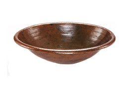 Premier Copper Products - Premier Copper Products LO19RDB Oval Self Rimming Hammered Copper Sink - Uncompromising quality, beauty, and functionality make up this Premier Oval Self Rimming Hammered Copper Bathroom Sink.