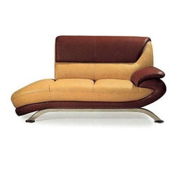 Stylish Seating - Light Brown & Dark Brown Leather Chaise