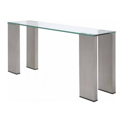 "Nuevo Living - Parker 61 Console Table by Nuevo - HGAR196 - The Parker 61 Console Table features a design with modern and industrial appeal. The aesthetics of the table are further enhanced by the rock solid construction and the very substantial 5/8"" thick glass top which is supported by"