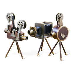 Kathy Kuo Home - Set of 3 Watsons Wood & Brass Vintage Reproduction Film Sets - Film buffs and design-conscious individuals alike will appreciate this set of three exquisitely hand-crafted table top projectors and cameras.  These reproductions are made of solid brass and wood accented by beautiful leather wrapping and brass elements.  With real glass lenses and film that contribute to the authentic appearance, the Watson Film Set is a truly unique addition to the home, especially in the library, office or study.