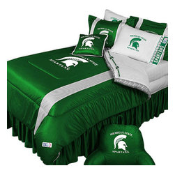 Store51 LLC - NCAA Michigan State Spartans Bedding College Football Bedding Set, Twin - Features: