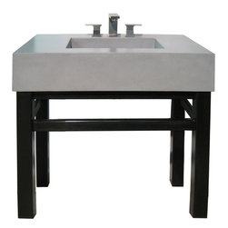 """Concrete Sink & Steel Base - Enjoy the refined look of concrete and steel together.   The steel base includes an additional bar that could be used to hang a towel.  Choose from 8 standard concrete colors and 2 metal finish options. The dimensions are:  42"""" x 22"""" x  35"""""""