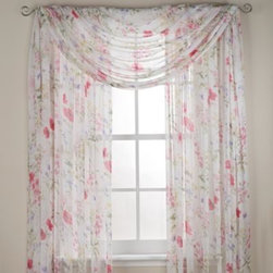 "J. Queen New York - J. Queen New York Wildflower Rod Pocket Window Curtain Panels - With colors that are soft yet still bold these window curtain panels feature a beautifully understated tossed floral print. The print appears on a crinkled chiffon fabric. The panels are sold individually and measure 50"" wide."