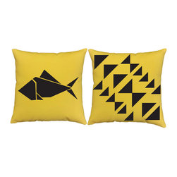 RoomCraft - RoomCraft 2pc Origami Pillow Covers/Cushion Set, Yellow, 16x16 Inches, Origami F - FEATURES: