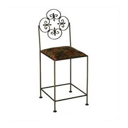 "Grace - Florentine Counter Stool w/ Arms - Features: -Painted according to your choice of metal finish .-Ships fully assembled .-Dimensions: 19"" W x 19"" D x 42"" H. About Grace Collection: Grace Manufacturing is a metal and wrought iron furniture manufacturing company located in Rome, GA. The company has been in business for 25 years and continues to employ skilled artisans and craftsmen. In addition to their state of the art manufacturing equipment they still assemble and finish many products by hand. Many items in the Grace Collection are fully hand made or hand painted. With products ranging from barstools, counter stools, and dinettes to wrought iron beds, hanging potracks, bakers racks and more, Graces line meets all professional and home needs. By implementing unique styles and ideas to traditional products, Grace has created an exceptional balance between creativity and practicality. Their design styles range somewhere between whimsical, neo classic and traditional, thus creating a truly astonishing decor for any inside space."