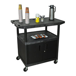 "Luxor - Luxor Serving Cart - HE40CWT-B - All new. Luxor / H. Wilson coffee/ serving cart. Molded plastic shelves and legs wont stain, scratch, dent or rust. 300 lb. weight capacity (evenly distributed). Steel locking cabinet with full piano hinge, great for storing transportation of supplies. 4"" Ball-bearing casters, two with locking brake. Lifetime warranty. 42""W x 24""D x 40 1/4""H."