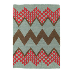 Donna Wilson, SCP - Fairisle Rug in Rose Cloud by Donna Wilson - Donna Wilson, SCP - Fairisle is a hand-loomed rug designed by Donna Wilson. Its chunky knit texture and brightly coloured zigzag pattern resembles a classic Fairisle sweater design.