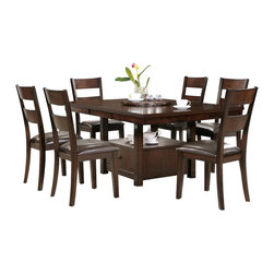 """Steve Silver Furniture - Steve Silver Gibson 9-Piece Dining Room Set with Ladderback Chairs - A marriage of form and function, the Gibson Dining Collection, offers a clean, contemporary style with extra storage space options. The versatile Gibson 2-in-1 Dining table features a storage base that can be used as a 30"""" table or a 36"""" counter table with the addition of the 6 inch tapered legs. The beautiful 48"""" x 66"""" dining room table will seat six comfortably when the 18"""" butterfly leaf is opened. The table measures 48"""" x 48"""" without the leaf. Surround with any of the matching Gibson chairs in regular height or counter height, and you have a set that is much more than a place to dine."""