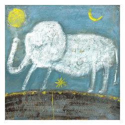 Sugarboo Designs - Little Elephant Art Print 36 x 36 - Vintage Art Print on Wood by Sugarboo Designs