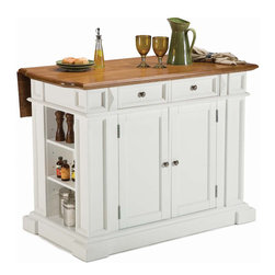 None - White Distressed Oak Kitchen Island - Expand your kitchen workspace by installing this large oak kitchen island. The butcher top features a leaf-top to give you extra space for chopping or mixing. Two drawers and two cabinets offer plenty of storage for your kitchen appliances.