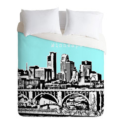 DENY Designs - Bird Ave Minneapolis Sky Duvet Cover - Turn your basic, boring down comforter into the super stylish focal point of your bedroom. Our Luxe Duvet is made from a heavy-weight luxurious woven polyester with a 50% cotton/50% polyester cream bottom. It also includes a hidden zipper with interior corner ties to secure your comforter. it's comfy, fade-resistant, and custom printed for each and every customer.