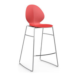 Calligaris - Basil Counter Stool, Chrome Frame, Red - Rounded contours make this stool comfortable as can be, while the leggy steel frame keeps it up-to-the-minute modern. Imported from Italy, it's a stylish addition wherever you need counter seating.