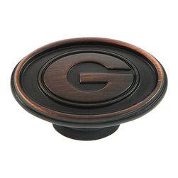 """Stone Mill Hardware - Georgia Cabinet Knob in ORB - Stone Mill Hardware - Georgia Cabinet Knob in ORB, Beautiful oil rubbed bronze finish. Engraved with the University of Georgia """"G"""". Solid, high-quality cabinet hardware., Length: 1.5"""", Width: 15/16"""", Projection: 1"""",Product Finish/Color: Oil-Rubbed Bronze,The screws are included"""