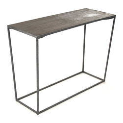 Kathy Kuo Home - Bleecker Modern Rustic Industrial Gray Steel Reclaimed Oak Console Table - Industrial steel lends strength and style to a modern, masculine console table. Each piece of reclaimed oak is uniquely detailed and patterned, resulting in a natural work of art on the table's surface. The height is ideal for a console or display table, showcasing your favorite collectibles, an eclectic lamp or any other creative combination.