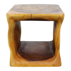 Kammika - Natural Cube Sustainable Wood 16 x 16 x 16 w Eco Friendly Livos Oak Oil Finish - Admire the swirling textures of sustainable Monkey Pod wood when it is transformed into the graceful waves that support our Sustainable Monkey Pod Wood Natural Cube 16 inch Square x 16 inch height in eco Friendly Livos Oak Oil Finish End Table. The wavy design of this handsome Monkey Pod wood functional art piece accentuates the flow of the wood grain, and captures the artistry of nature while highlighting a beauty that cannot be reproduced. This piece can be used as an end table, stand, or stool. Designed for use stand alone or in groups; they can serve as a serving table or bench when put together. Each piece is more than a piece of furniture; each is a Work of Art! Craftspeople from the Chiang Mai area in Northern Thailand create these pieces with the simplest of tools. After each Monkey Pod wood (Acacia, Koa, Rain Tree grown for wood carving) piece is dried, carved and sanded, it is rubbed in Tung oil creating a water resistant and food safe matte finish. The light and dark portions of wood turn to darker shades of brown over time and the alkaline in the oils creates a honey orange color. There is no oily feel, and cannot bleed into carpets. Crafted from sustainable Monkey Pod wood, we make minimal use of electric sanders in the finishing process. Dried in solar or propane kilns, no chemicals are used in the process, ever. Made from the branches of the Acacia tree, where each branch is cut and carved to order (allowing the tree to continue growing), this piece is packaged with cartons from recycled cardboard with no plastic or other fillers. The color and grain of your piece of Nature will be unique, and may include small checks or cracks that occur when the wood is dried. Sizes are approximate. Products could have visible marks from tools used, patches from small repairs, knot holes, natural inclusions or holes. There may be various separations or cracks on your piece when it arrives. There may be some slight variation in size, color, texture, and finish color.Only listed product included.