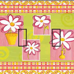 IdeaStix - Daisy Cool & Groovy Double Toggle Peel and Stick Switch Plate Cover - SwitchStix transforms an ordinary switch plate into beautiful art decorations.  Made from proprietary rubber-resin, Premium SwitchStix Peel and Stick Decor offers a quick and easy solution for decorating plain switch plates.  With features like water/heat/steam-resistant, nontoxic, washable, removable and reusable, it is ideal for any room in the house or office.  SwitchStix fits standard size switch plates and applies right over the switch plate and it even covers the screw holes.  Suitable for standard size non-porous and smooth switch plates.  Discard mid-section for toggle switch placement.  Surface can be washed with most household cleaning products.
