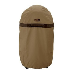 Classic Accessories Medium Round Smoker Cover - Tan - You and your smoker have a special bond. Protect it from the elements with the Medium Round Smoker Cover - Tan. This stylish cover is constructed of rugged tan fabric with a water-resistant PVC backing. Elastic hem cord with adjustable toggle offer a secure fit while handles make it easy to remove. Air vents reduce wind lofting and condensation. This cover fits round smokers up to 18 inches around.About Classic AccessoriesFounded from small beginnings, Classic Accessories has grown in the past 30 years from a small basement operation in Seattle's Roosevelt neighborhood making seatbelt pads and steering wheel covers, to a successful and expanding company now making a wide variety of products from car to boat covers and much more. Innovative, stylish designs define products that are functional and made to last. From little details to the largest innovations, Classic Accessories is always moving forward and looking to provide cover and storage solutions to a clientele that has a passion for the outdoors, from backyard gatherings to exciting camping trips, Classic Accessories provides the products that keeps your equipment looking great all season long.
