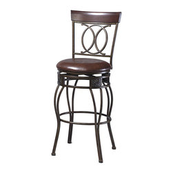 Linon - Linon O & X Back 30 Inch Bar Stool with Swivel - Linon - Bar Stools - 02565MTL01KDU - The elegance and unique style of this O&X Back Bar Stool will carry throughout your kitchen dining or home pub area. Crafted of metal and highlighted with subtle curves and a distinctive O & X back this stool is a positively striking addition to your home. The cushion is piled high for extra comfort and the chocolate wipe clean vinyl seat is pliable and resistant to everyday wear and tear making this stool versatile for any gathering area.