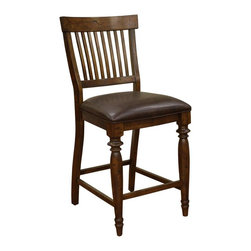 American Heritage - Delphina 25 in. Counter Stool in Antique Birc - Set of 2. Finished in Antique Birch. Hideout Coffee Cushion. Stationary Stool. 3 in. Cushion. Floor Glides. Construction Material: Wood. Assembly Required. 25 in. Seat Height. 1 Year Warranty. Seat Width: 19.5 inches. Seat Depth: 17.5 inches. 19.5 in. W x 22 in. D x 41.25 in. H