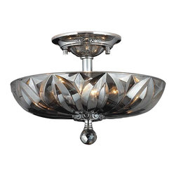 "Worldwide Lighting - Mansfield 4 Light Chrome Finish & Smoke Crystal 16"" Round Semi-Flush Mount Light - This stunning 4-light ceiling light only uses the best quality material and workmanship ensuring a beautiful heirloom quality piece. Featuring a radiant chrome finish and finely cut premium grade translucent smoke colored crystals with a lead content of 30%, this elegant ceiling light will give any room sparkle and glamour. Worldwide Lighting Corporation is a privately owned manufacturer of high quality crystal chandeliers, pendants, surface mounts, sconces and custom decorative lighting products for the residential, hospitality and commercial building markets. Our high quality crystals meet all standards of perfection, possessing lead oxide of 30% that is above industry standards and can be seen in prestigious homes, hotels, restaurants, casinos, and churches across the country. Our mission is to enhance your lighting needs with exceptional quality fixtures at a reasonable price."