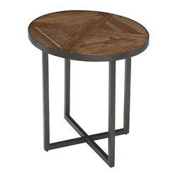 Magnussen - Magnussen Lakeside Oval End Table in Natural Sienna - Magnussen - End Tables - T230307 - Accent any corner of your decor setting with this modern end table from the Lakeside collection. Oval in shape, it has a sleek frame and stylish slab design that can match well with any decor setting. Its natural patina features nail holes, dips, natural imperfections and blemishes. The natural sienna finish and oxidized metal add to its unique appeal. This sturdy table is constructed from reclaimed solid timbers from old buildings, metal rod and tubes.